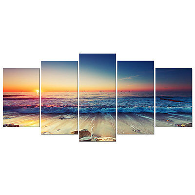 Canvas Art Print Seascape Sea Beach Sunset Home Decor Poster Landscape Framed