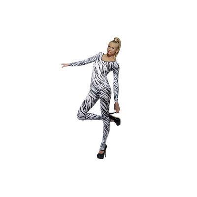Smi - sexy Damen Bodysuit Overall Zebra weiß Erotik Lingerie - Zebra Bodysuit Kostüm
