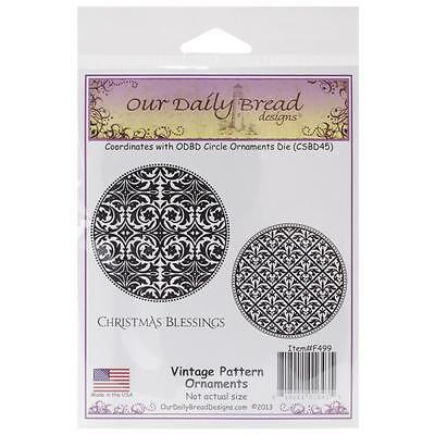 Our Daily Bread Cling Stamps Vintage Pattern Ornaments   New