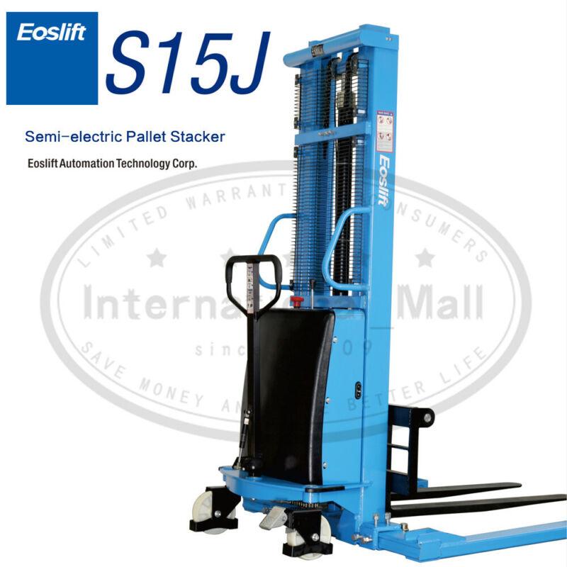 "Eoslift NEW Semi-Electric Pallet Jack Straddle Stacker 3300 LBS CAP 118"" LIFT"