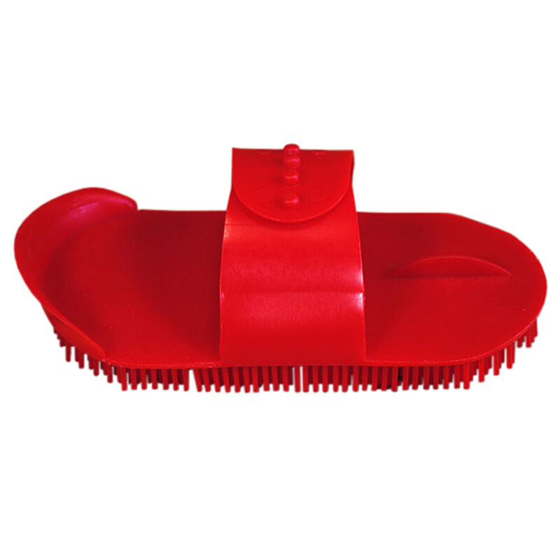 Red Hilason Horse Grooming Large Plastic Curry Comb With Handle U--076
