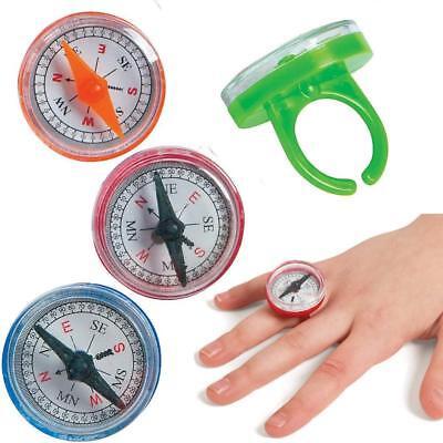 German Trendseller® - 12 x Kompass Ringe | verschiedene Farben | Mitgebsel