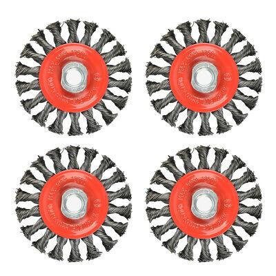 4pcs 4 Inch Twist Knotted Wire Wheel Brush Twist Wire Brush Grinders 58-11 U