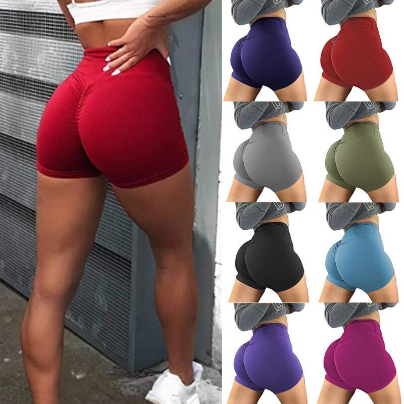 Women High Waist Yoga Pants Shorts Push Up Scrunch Exercise