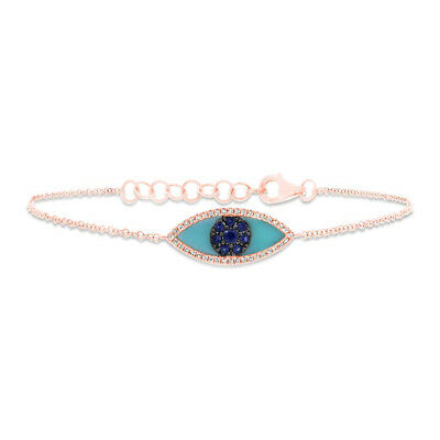 14K Rose Gold Natural Blue Sapphire Diamond Turquoise All Seeing Eye Bracelet All Fine Jewelry Turquoise Bracelet