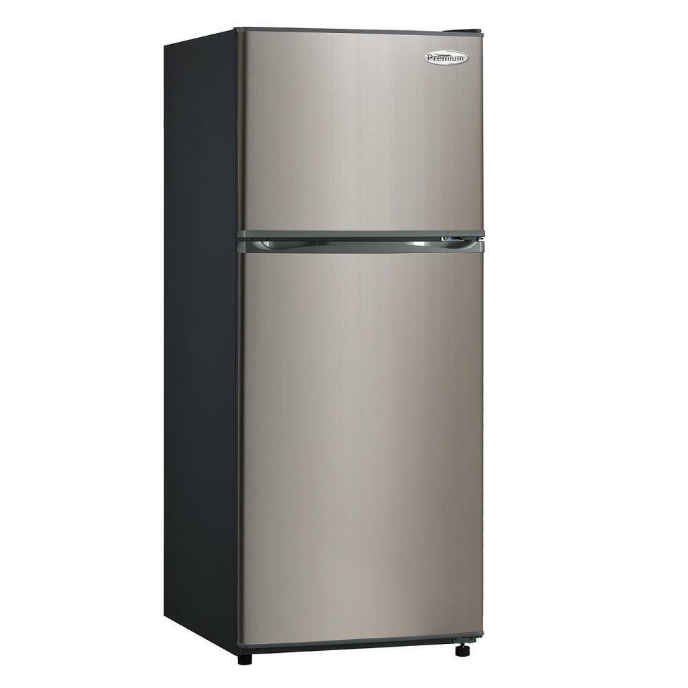 Premium 11.5 CuFt Frost Free Top Freezer Refrigerator Black Stainless Steel Door
