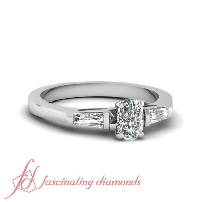 .70 Ct Cushion Cut Diamond Tapered Three Stone Design Engagement Ring VVS2 GIA