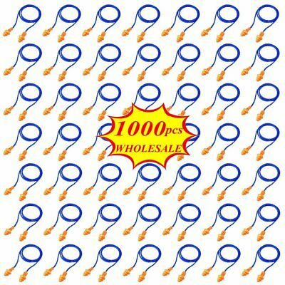 1000 Pairs Silicone Corded Ear Plugs Reusable Hearing Protection Earplugs Lot Ww