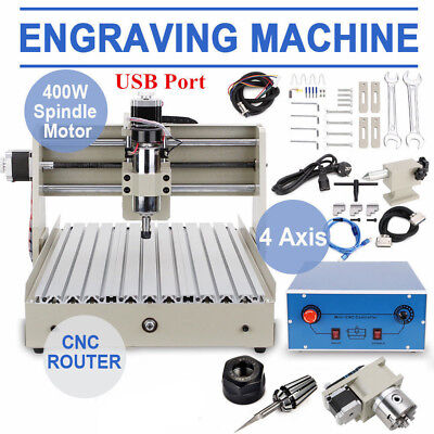 Usb 4 Axis 3040t Cnc Router Engraver Engraving 3d Cutter Desktop Cutting 400w
