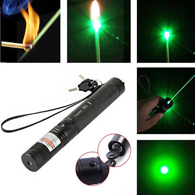 Powerful Military 532nm 303 Green Laser Pointer Pen Burning Beam Charger < 1mW