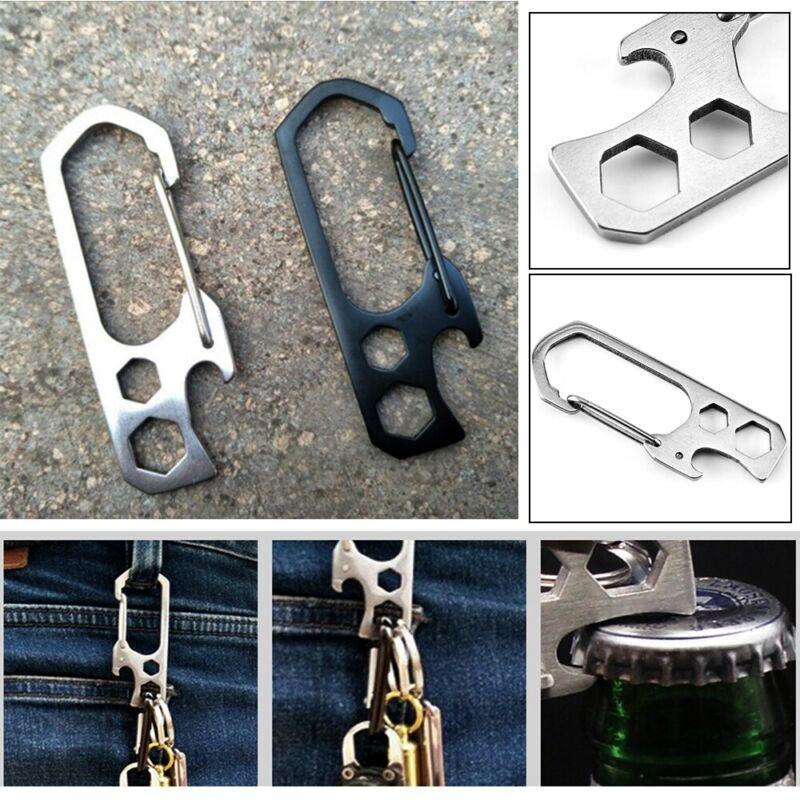 Steel EDC Climbing Carabiner Bottle Opener Keychain Clip Keyring Hook Buckle