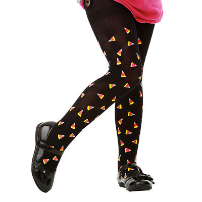 Black Candy Corn Pattern Halloween Costume Tights for Girls Kids](Black Halloween Costumes For Kids)