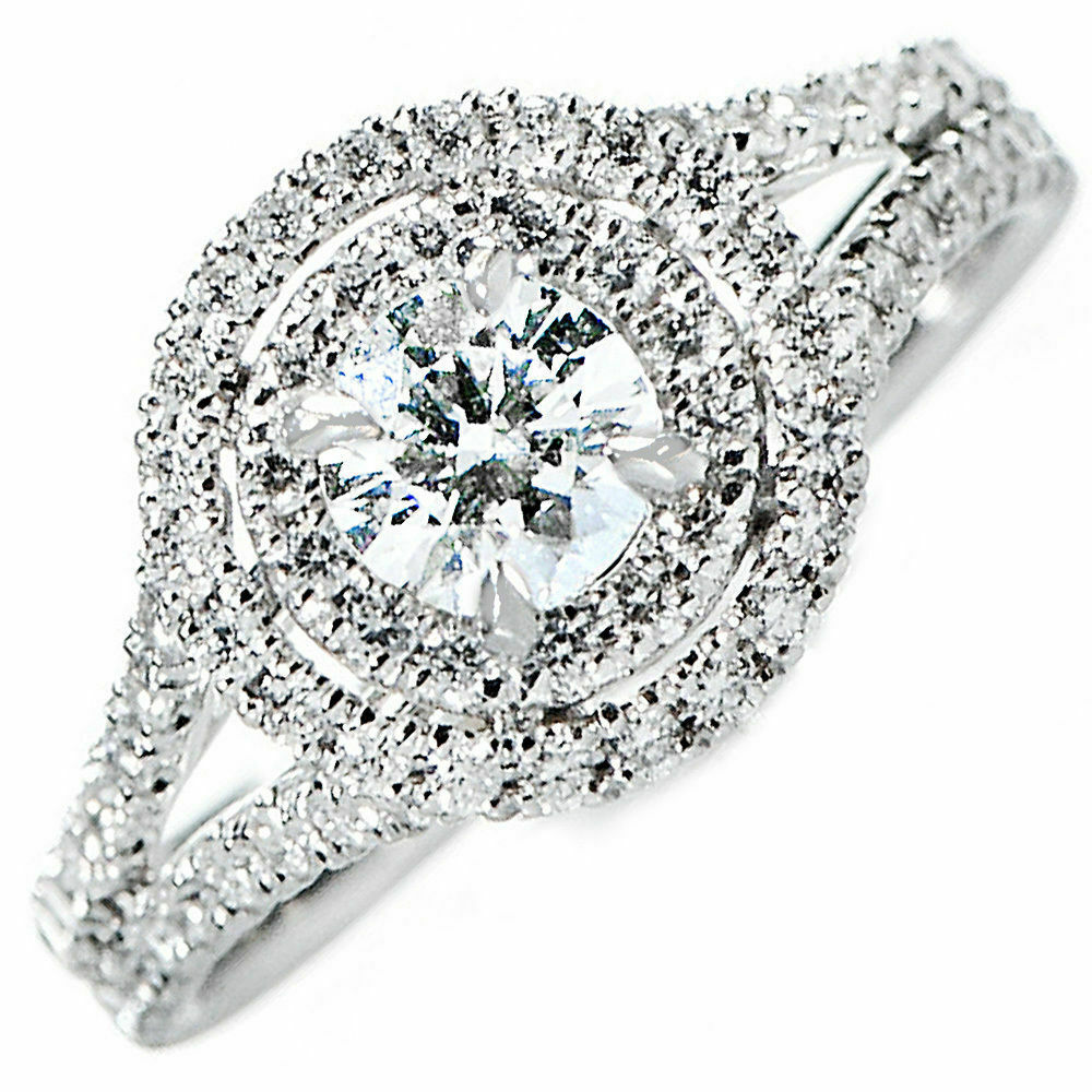 Natural GIA Certified Halo Round Cut Diamond Engagement Ring 3.41 Carat 18K Gold