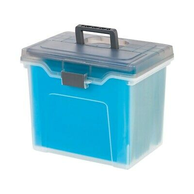 Staples Portable File Box Letter Size Clear W Gray Lid 110991 757455