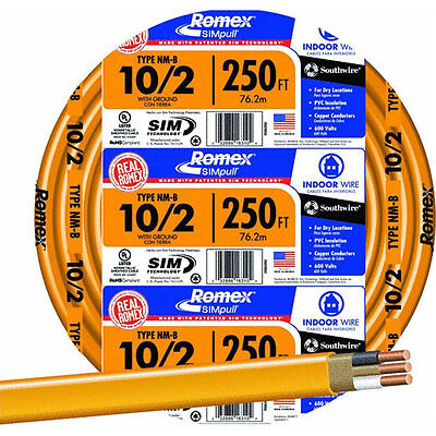 Romex 250 Ft. 102 Nm-b Indoor Residential Building Ground Wire Electrical Cable