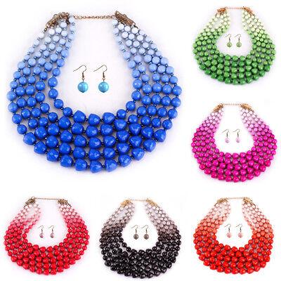 (Fashion Strand Chain Acrylic Pearl Beads Chunky Choker Statement Bib Necklace)