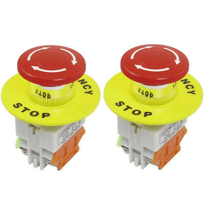 2 Pack Red Mushroom Emergency Stop Push Button Switch No Nc 22mm 10a Us Stock