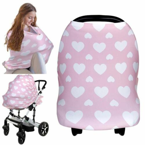Pink Hearts Nursing Cover for Breastfeeding, Multi Use for Baby Car Seat Covers