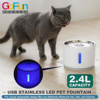 Automatischer elektrischer 2.4L Haustier-Wasserbrunnen USB-Edelstahl-Spitzen-LED (Automatische Haustier-wasser)