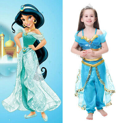 Jasmine Deluxe Disney Princess Aladdin Costume Cosplay Outfits Fancy Dress - Princess Jasmine Dress Up Outfit