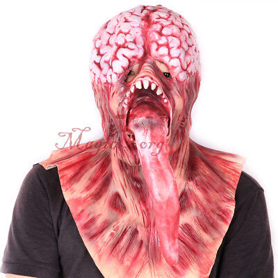 Halloween Bloody Long Tongue Zombie Mask Brain Foam Adult Latex Costume Scary
