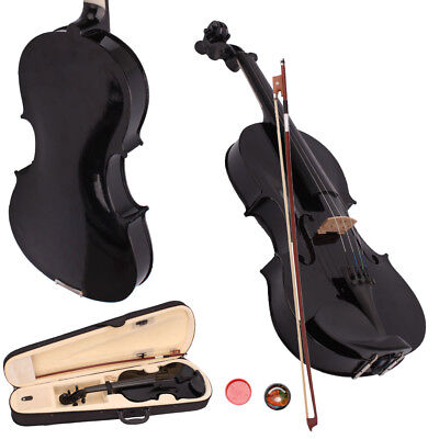 New School Acoustic Violin 4/4 Full Size with Case and Bow Rosin Black