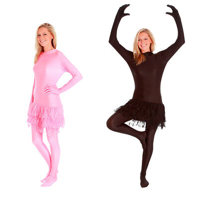 Ballerina Costume For Women (Womens Tutu Morphsuit Fancy Dress Costume Ballerina Party Festival Black or)