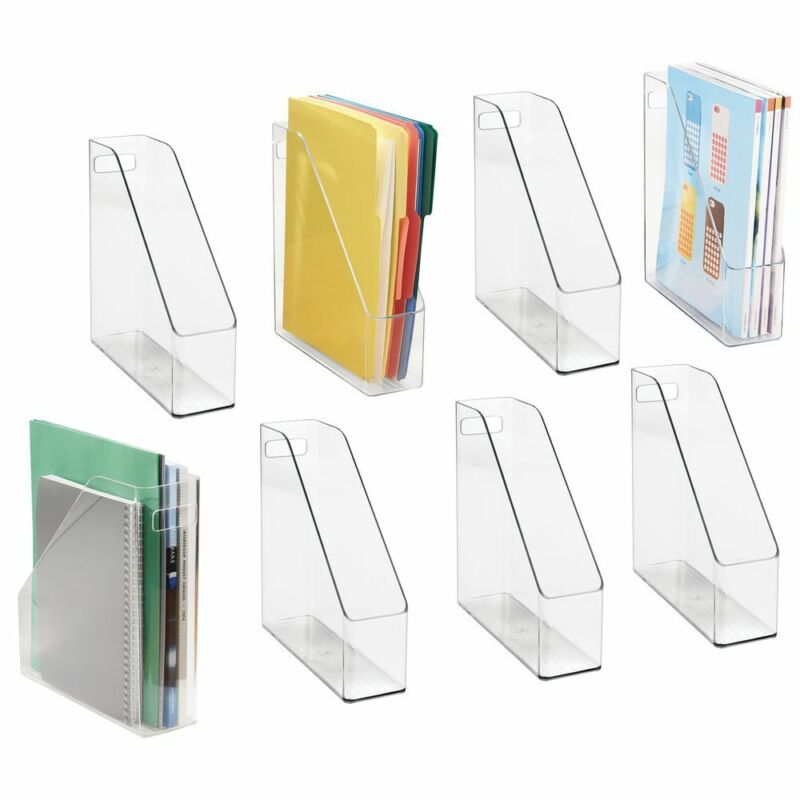 mDesign Plastic File Folder Bin, Home Office Desktop Organizer, 8 Pack - Clear