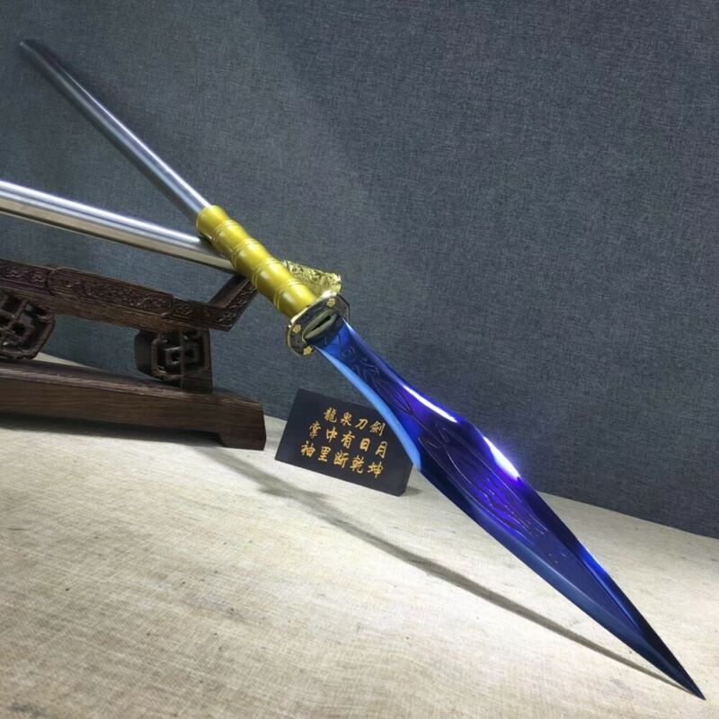 HUNTING FIGHTING SPEAR SPEARHEAD SWORD STRONG BLUE MANGANESE STEEL LONG SPEAR