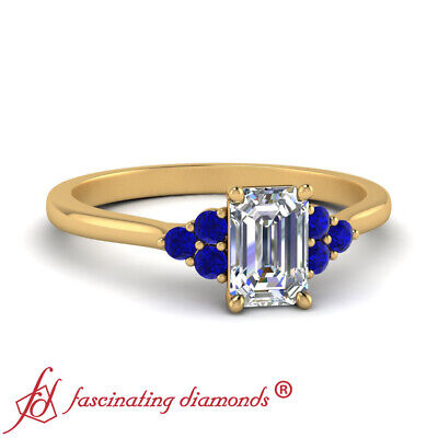 Cathedral Engagement Ring With 1/2 Carat Emerald Cut Diamond & Sapphire Gemstone