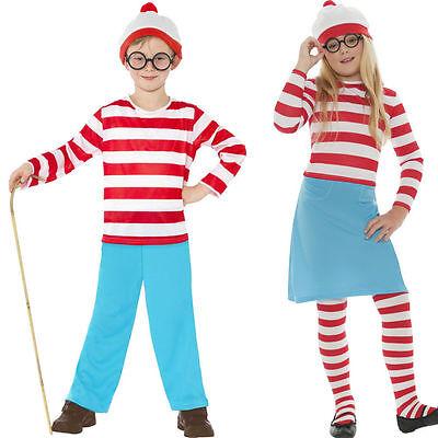 Mädchen/Jungen wo Ist Wally Wenda Kinder-Kostüm Büchertag Verkleidung - Wo Ist Wally Kostüm Mädchen