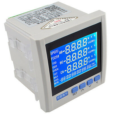 Three Phase Multifunction Digital Volt Amp Power Meter Energy Accumulation Rs485