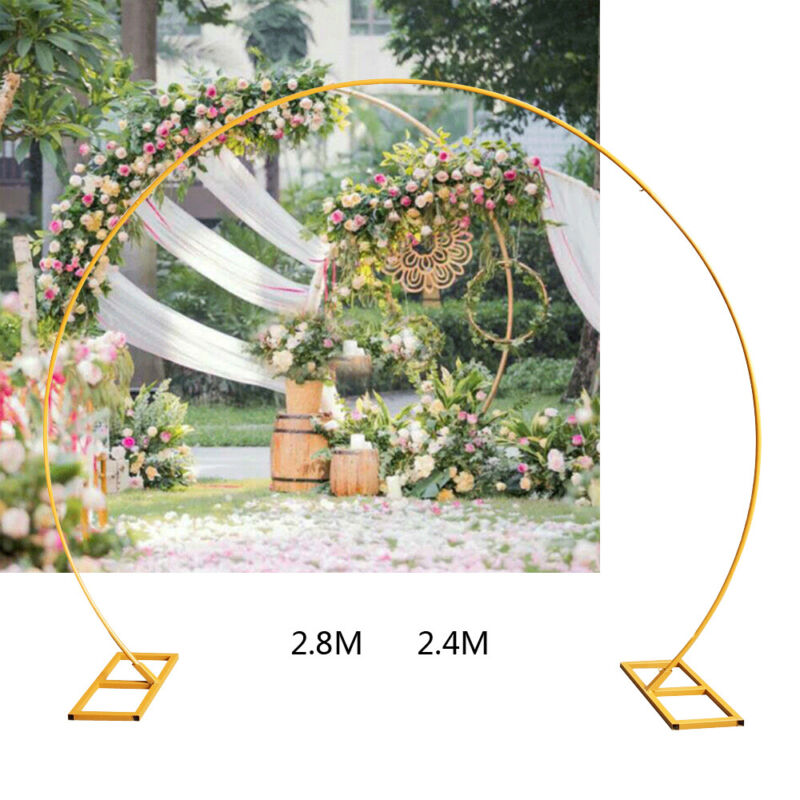 9.5ft Gold Round Metal Wreath Arch Backdrop Stand Wedding Mall Party Decoration