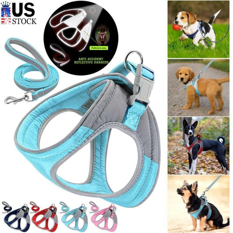 US Pet Dog Reflective No Pull Vest Harness Puppy Adjustable Collar Leash Set S-L