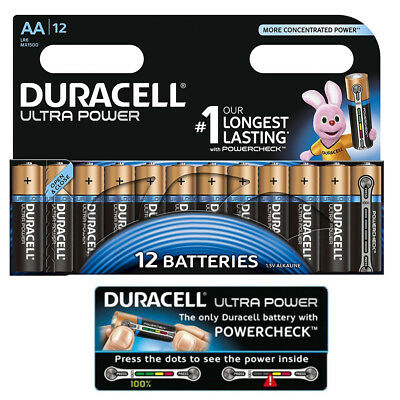 GENUINE 12x DURACELL AA ULTRA POWER ALKALINE BATTERIES WITH LONG POWERCHECK TEST