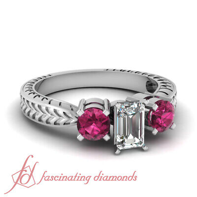 1 carat Emerald Cut Diamond Engagement Rings with Pink Sapphire VS1-F Color GIA