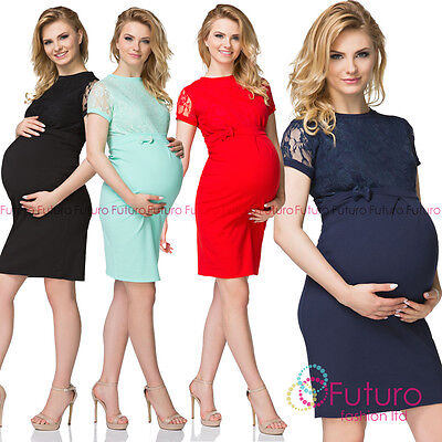 (Maternity Short Sleeves Round Neck Knee Lenght Peganancy Dress With Lace FK1573)