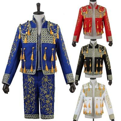 Men Spanish Bullfighter Matador Outfit Suit Jacket Pant Vest Cosplay Costume 3PC - Matador Jacket Costume