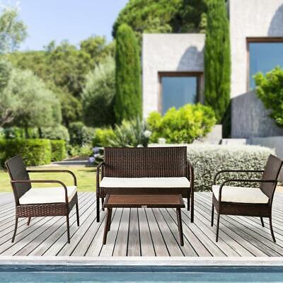Garden Furniture - Patio Seating Set 4Pc Outdoor Loveseat Table Chair Cushion Garden Pool Furniture