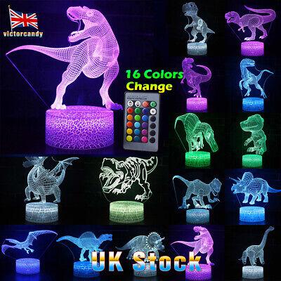 3D Illusion LED Night Light 16 Colour Touch Table Desk Mood Lamp Gift Dinosaur