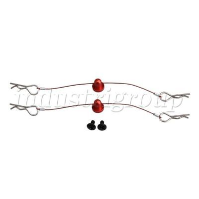 2PCS 100mm RC 1:10 Car Body Shell Clips Pins Steel Wire with Screws Retainer Red