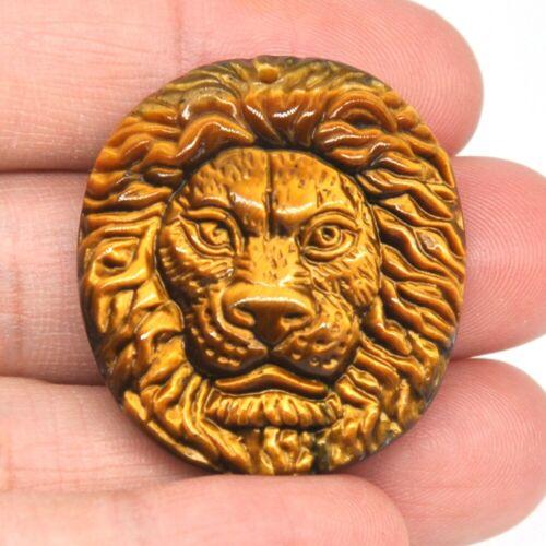 "1.3"" Carved Lion Head Pendant Healing Crystal Natural Tiger Eye Necklace 1PCS"