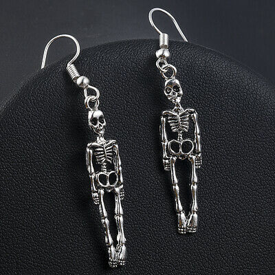 Halloween Vintage Skeleton Skull Dangle Earrings for Women Jewelry Party Gifts