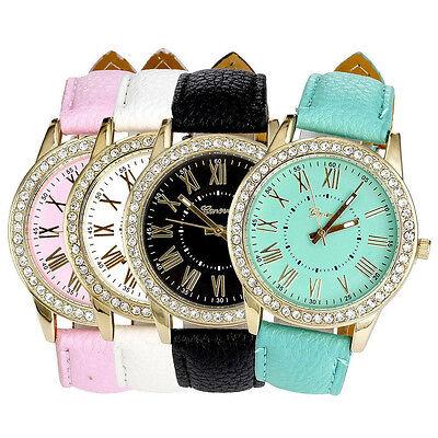 Women's Leather Band Watch Roman Rhinestone Crystal Quartz Wrist Watches