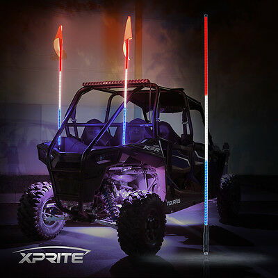 XPRITE 5FT RED WHITE BLUE LED Whip Light and flag for RZR ATV UTV JEEP Off-Road