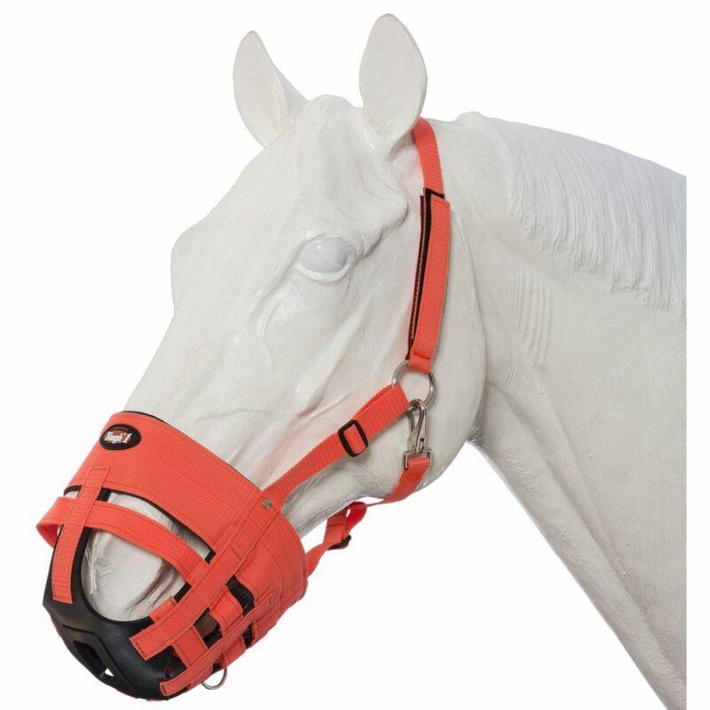C-39-0 Tough 1 Easy Breathe Poly/Nylon Orange Horse Grazing Muzzle W/ Throat Sna
