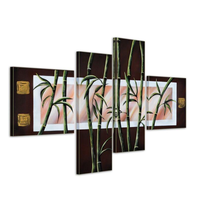 Bambus+M1+-+Leinwandbild+4+teilig+100x70cm+Handgemalt