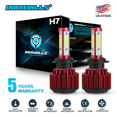 CREE H7 1800W 270000LM 4 Sides LED Headlight Kit High or Lo Light Bulb 6000K Car