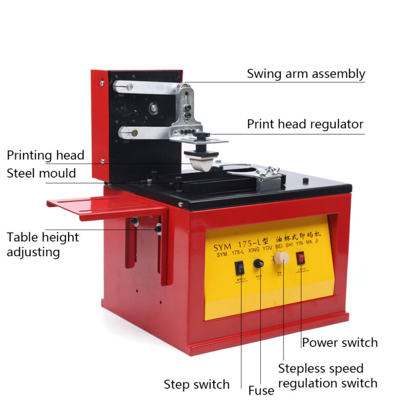 Electric Indirect Gravure Printer 55W Monochrome Printing Device w/ Sealer USA