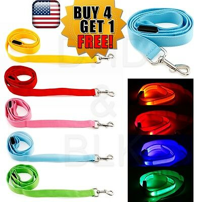 LED Light up Dog Pet Night Safety Bright Flashing Adjustable Nylon Leash ()